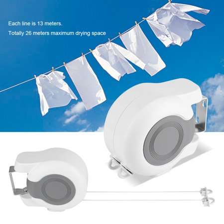 Knifun 13m  Retractable Clothes Washing Line,Wall-Mounted Clothes Drying Line Indoor Outdoor