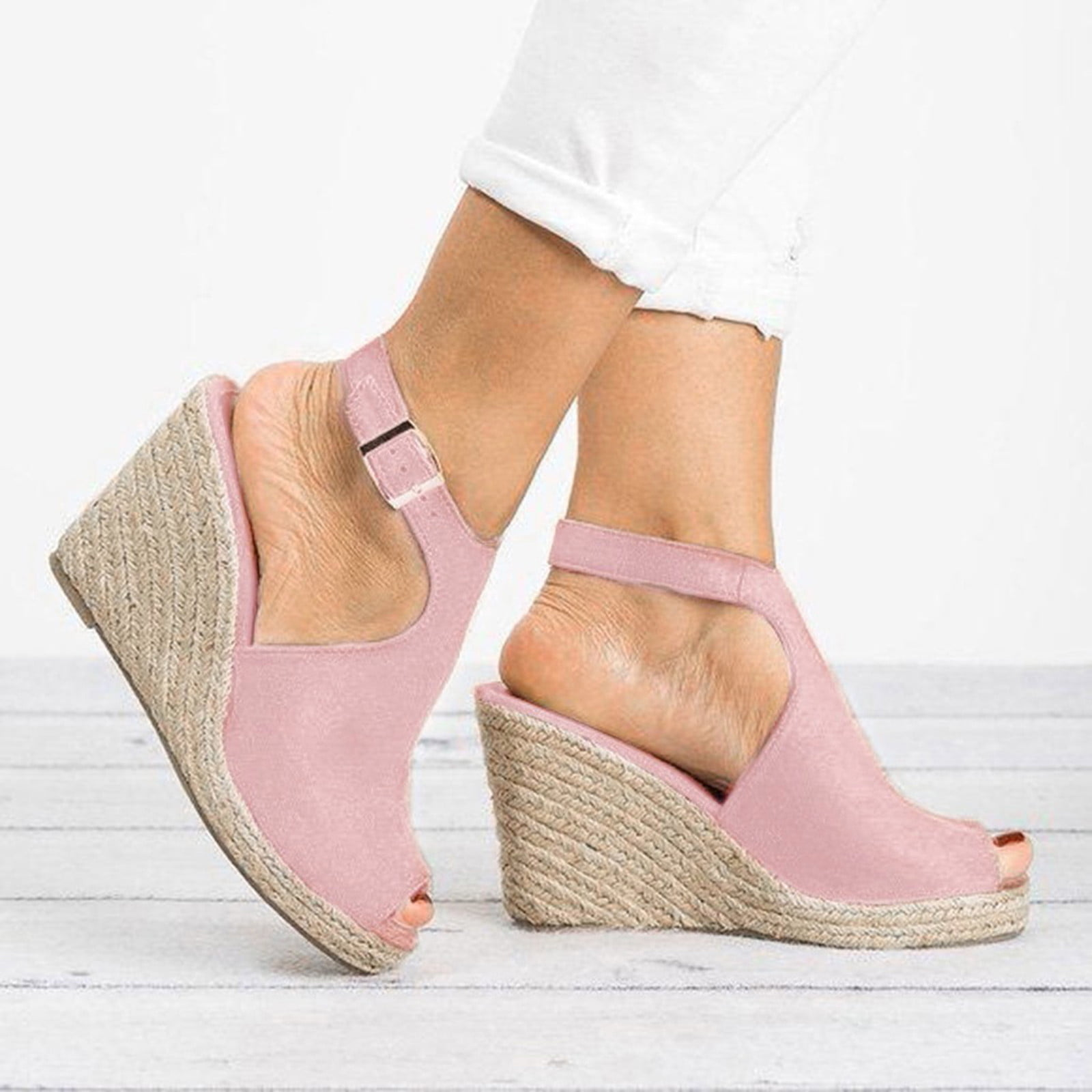 Details about  /Womens Suede Leather Wovean High Wedge Heel Peep toe Sandals Slingback Shoes NEW