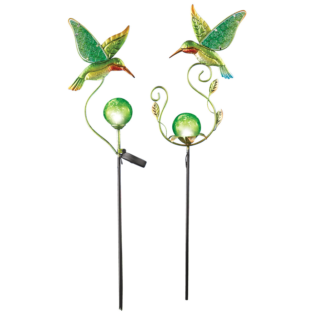 Hummingbird U0026 Green Glass Ball Solar Garden Stakes, ...