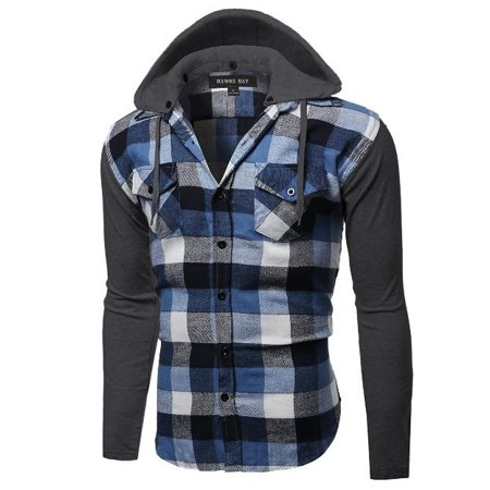 Small Flannel (Hawks Bay Mens Plaid Flannel Shirt Detachable Hood Button Up #8)