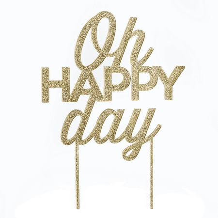Gold Glitter Oh Happy Day Acrylic Cake - Diy Cake Topper