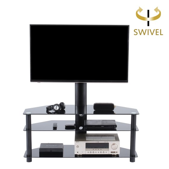 tavr furniture universal swivel tv stand with mount glass tv stand with bracket tv mount. Black Bedroom Furniture Sets. Home Design Ideas