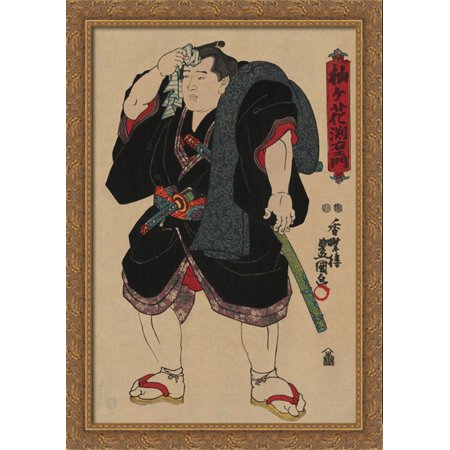 Sumo wrestler Somagahana Fuchiemon 28x40 Large Gold Ornate Wood Framed Canvas Art by Utagawa Kunisada](Sumo Wrestler Suit)