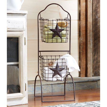 Metal Star Two Tier Wire Basket Stand