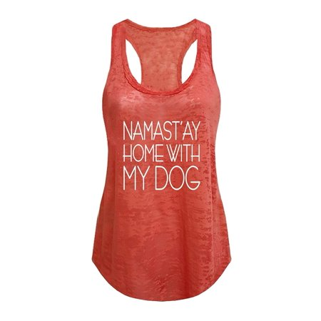 Tough Cookie's Women's Yoga Burnout Namastay at Home with My Dog Tank Top](Toga Dog)