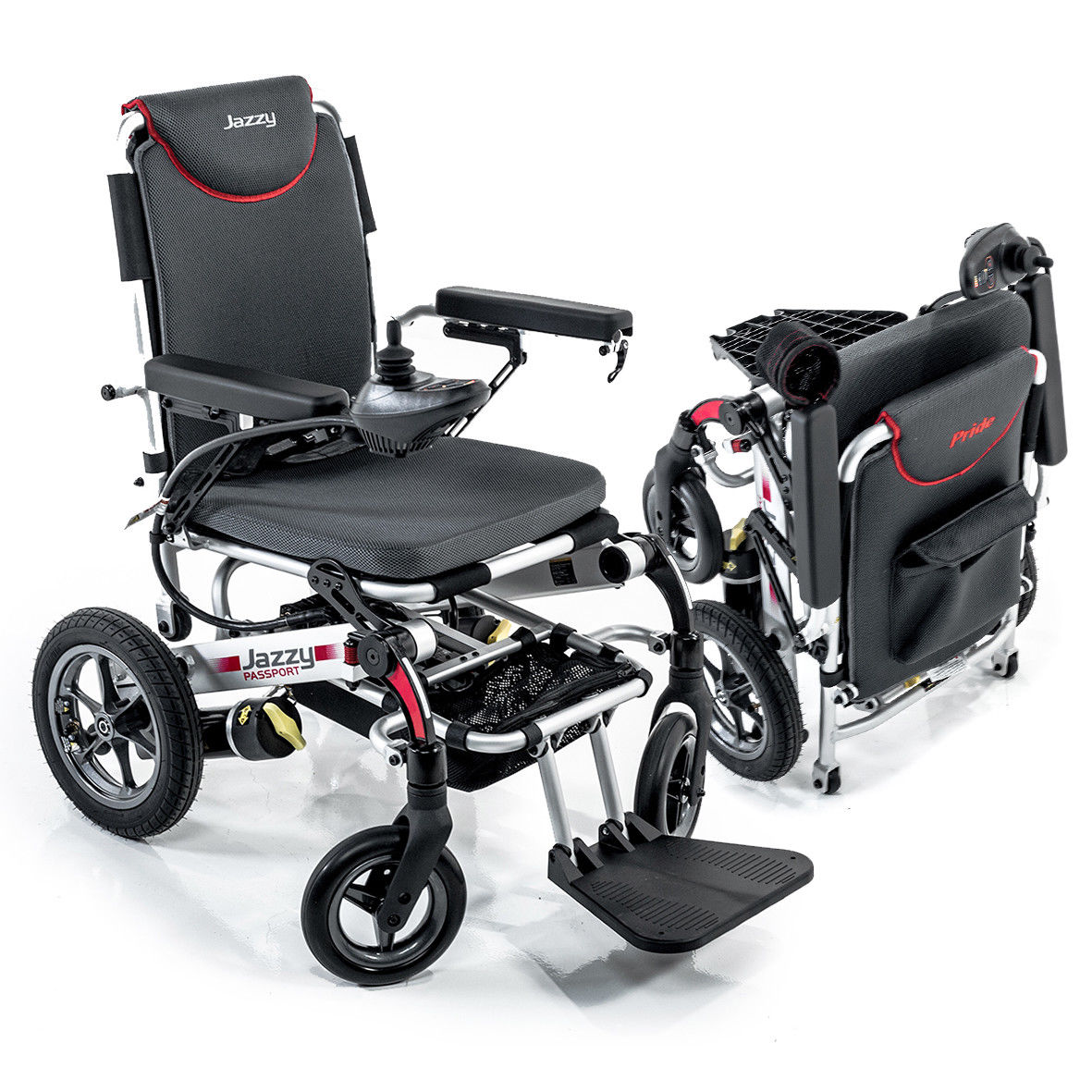 Pride Mobility Jazzy Passport, Folding Travel Electric Powerchair - Lightweight Portable Folding Electric Wheelchair