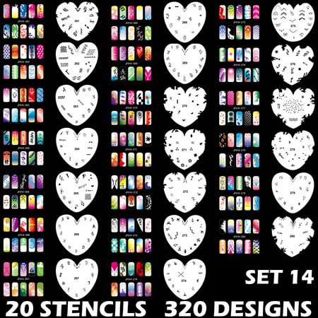 Set 14 320 Airbrush Nail Art STENCIL DESIGNS 20 Heart Template Sheets Kit