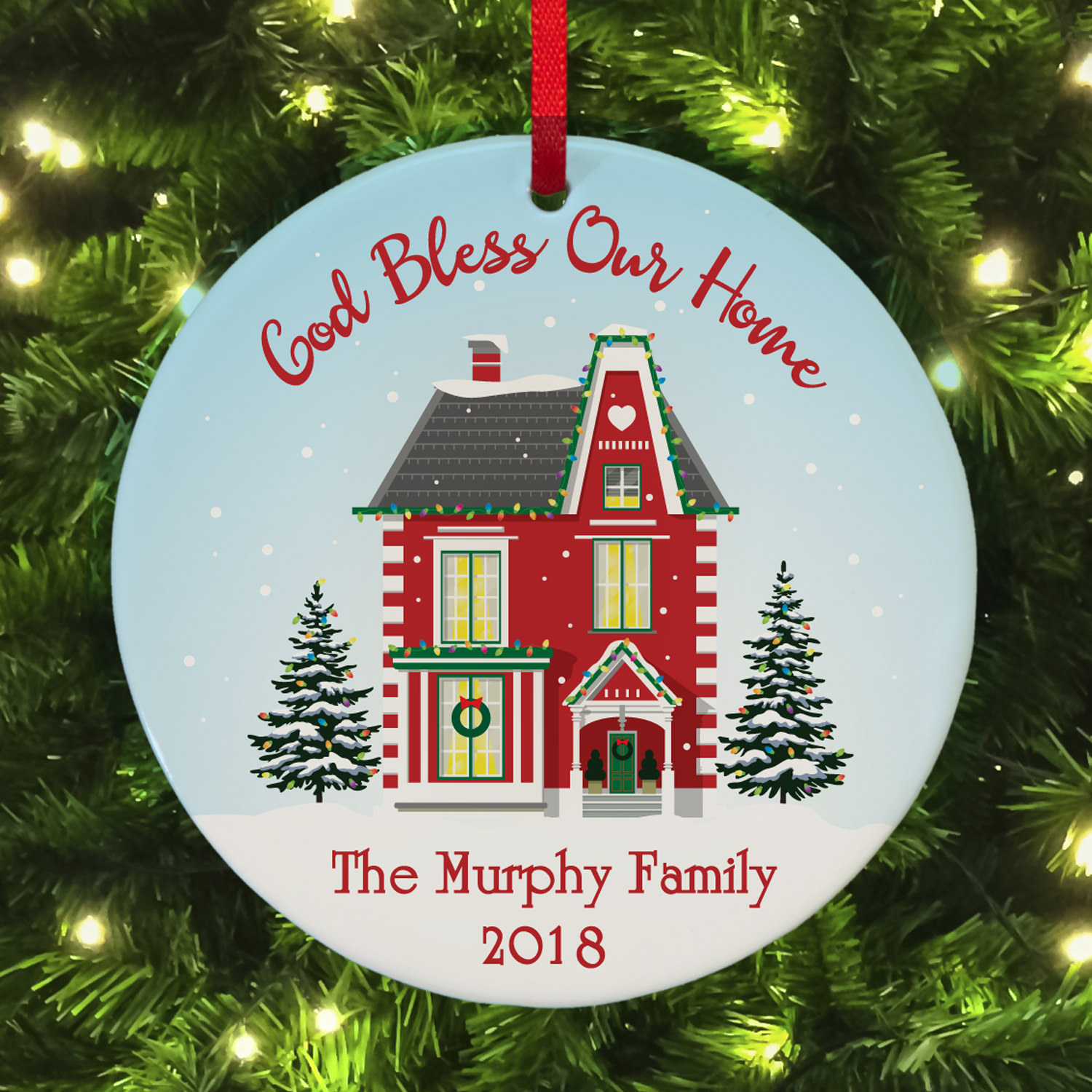 Personalized God Bless Our Home Round Ornament