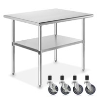 """GRIDMANN NSF Stainless Steel Commercial Kitchen Prep & Work Table w/ 4 Casters - Multiple Sizes Available - 30"""" 36"""" 48"""" 72"""""""