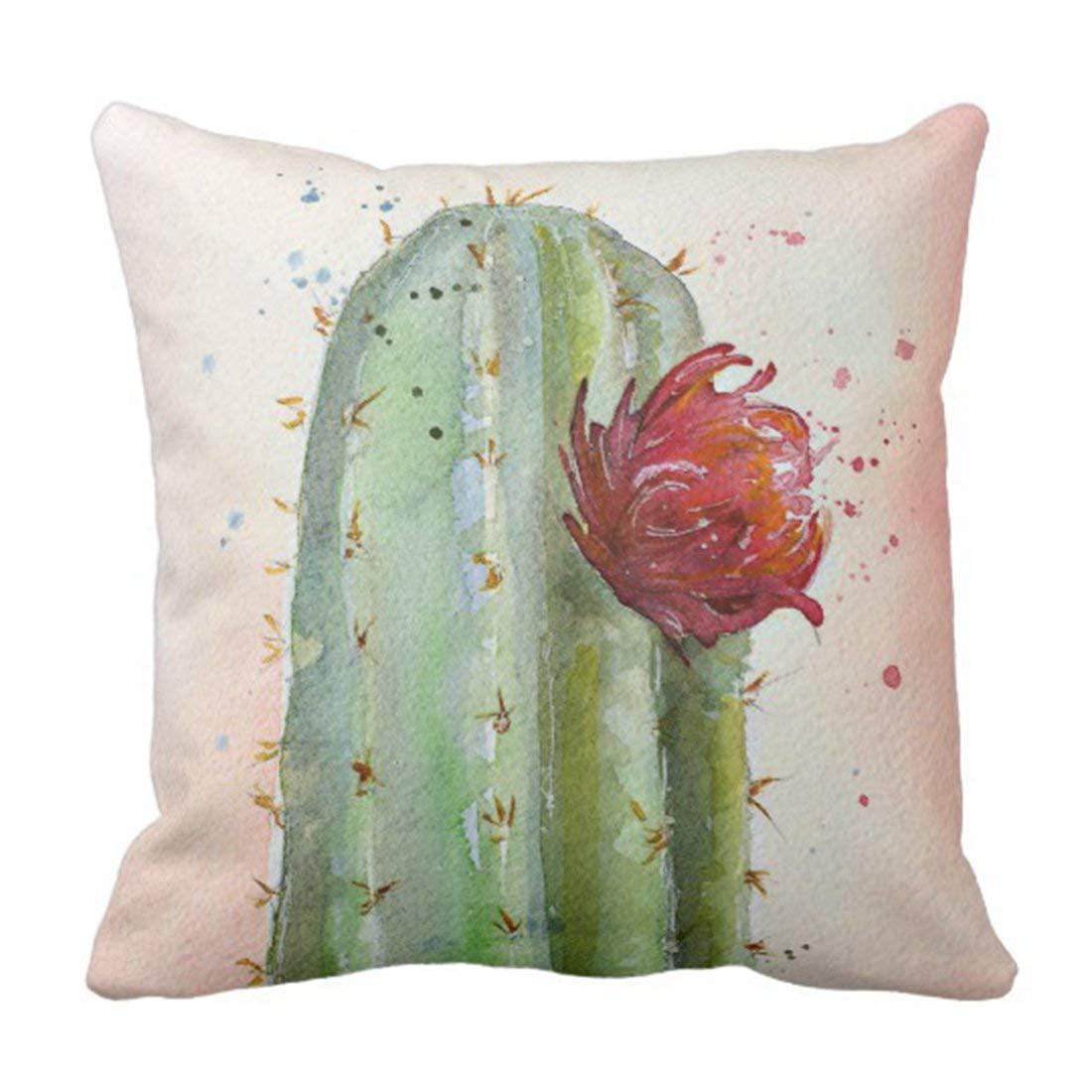 WOPOP Flower Coral Watercolor Flowering Green Bohemian Pillowcase Cover 16x16 inch