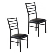 Black Metal & Faux Leather Kitchen Dinette Dining Side Chairs ( Set Of Two)