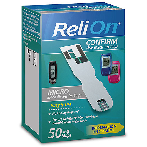 ReliOn Confirm Micro Blood Glucose Test Strips, 50 Count