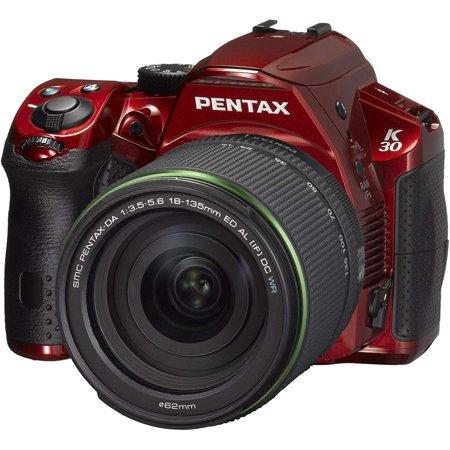 Pentax K-30 16 MP CMOS Digital SLR 18-135 WR Lens Kit Crystal Red -  15198