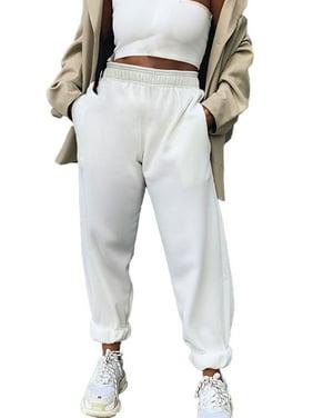 Womens Ladies Joggers Tracksuit Bottoms Trousers Slacks Gym Jogging Sweat Pants White
