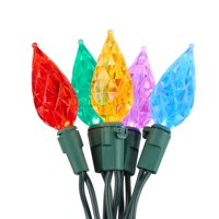 Holiday Time Teardrop LED C6 String Christmas Lights Set 20.92' 60 Count Multicolor, Green Wire