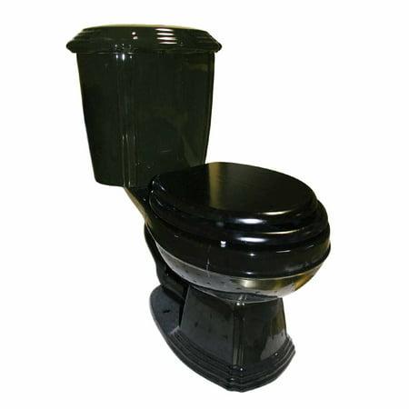 - Black Elegant Dual Flush Two-Piece Round Front Toilet