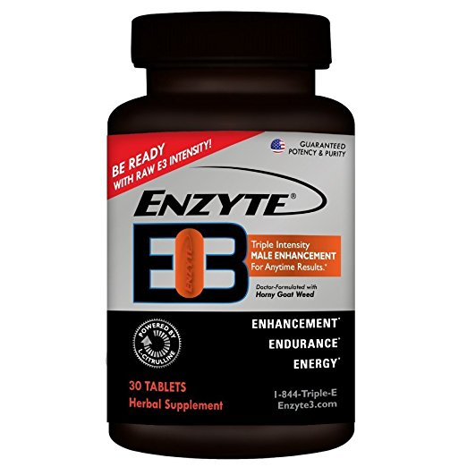 Enzyte E3 - L-Citrulline & Horny Goat Weed Triple Intensity Male Enhancement, Energy, Endurance Pills Supplement - Sex Drive Booster for Men - 1 Month Supply (30 Tablets)