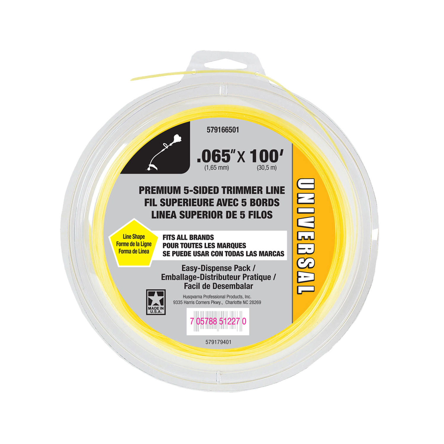 "Universal Shaped Replacement Trimmer Line, .065"" x 100'"