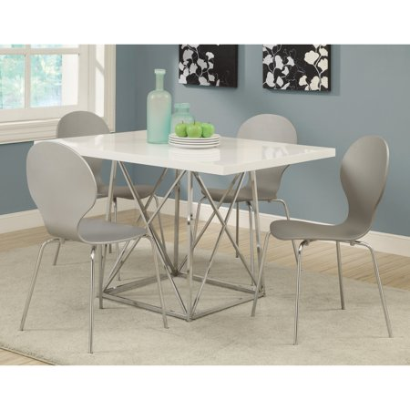 Monarch Kingsville White 5 Piece Modern Dining Set With Grey Bentwood Stools