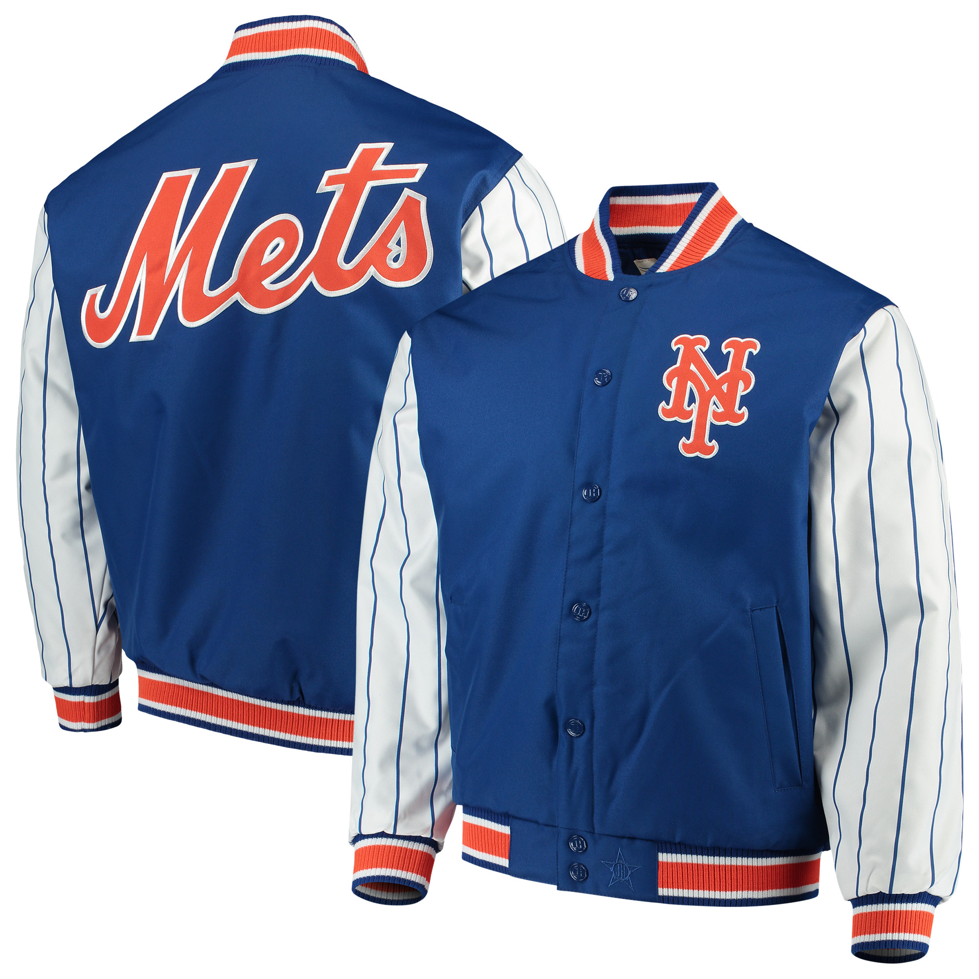 New York Mets JH Design Quilted Knit Jersey Lined Jacket - Royal