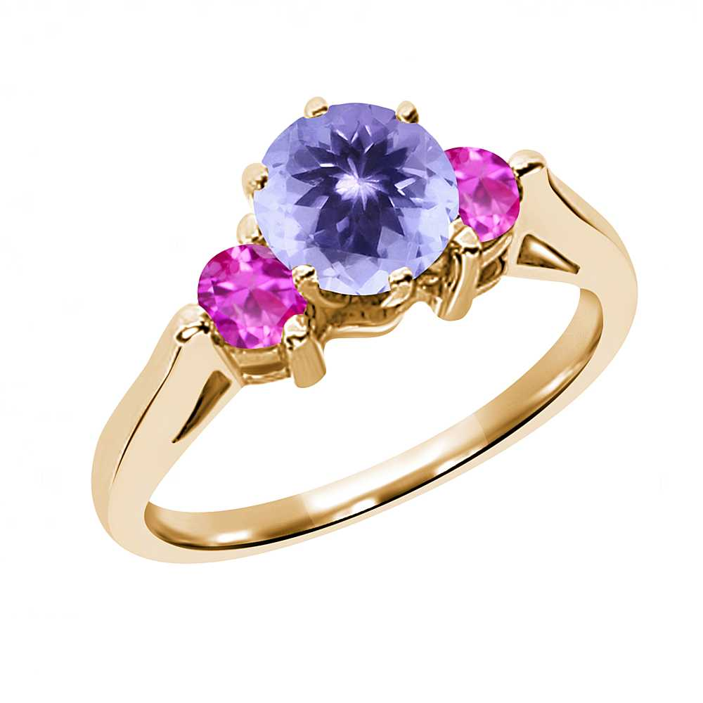 0.62 Ct Round Blue Tanzanite Pink Sapphire 18K Yellow Gold 3-Stone Ring by