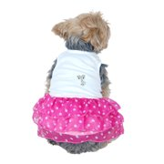 Cute Little Elegant Pet Dress with Pearl Decorated Top and Layered Chiffon Polka Dotted Skirt, Extra Small Pink/White (Gift for Pet)
