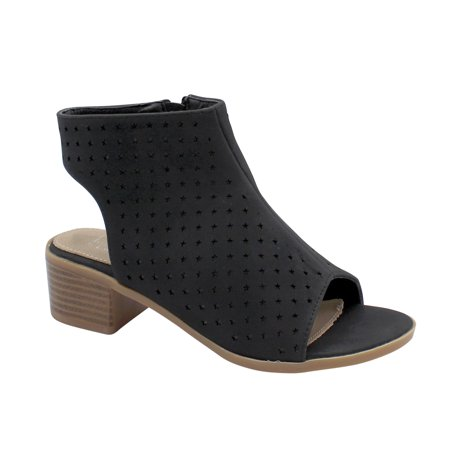 Mason-18 Girls High Heel Peep Toe Bootie Black 12 ()