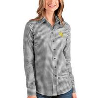Wyoming Cowboys Antigua Women's Structure Button-Up Shirt - Black/White