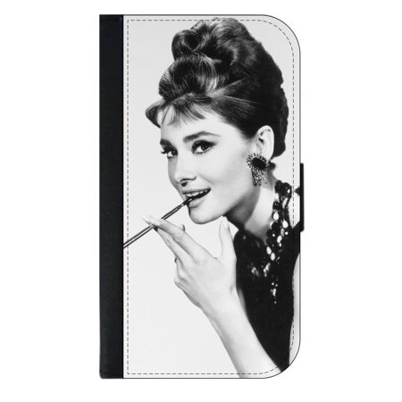 Audrey Hepburn - Wallet Style Phone Case with 2 Card Slots Compatible with the Standard Samsung Galaxy s6 Universal ()