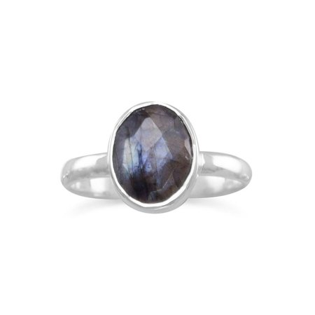 Stackable Ring Faceted Labradorite Sterling Silver