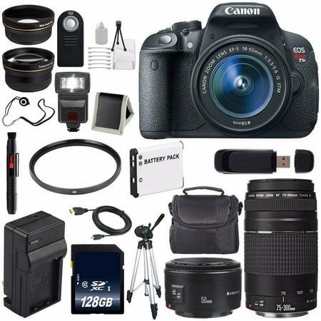 Canon EOS Rebel T5i 18 MP CMOS Digital SLR Camera w/EF-S 18-55mm f/3.5-5.6 Lens (International Model no Warranty) + EF 50mm f/1.8 II SLR Lens 6AVE Bundle 135 (Canon Eos Rebel T5i 18 135)