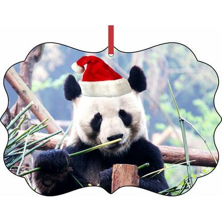 Panda Ornament (Panda Bear in a Santa Klaus Hat Elegant Aluminum SemiGloss Christmas Ornament Tree Decoration - Unique Modern Novelty Tree Décor)