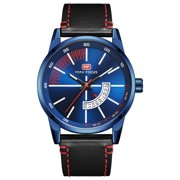Men's Quartz Analog Wrist Watch Blue&White Dial Casual Black Faux Leather Band For Men Bussiness Dress with Date