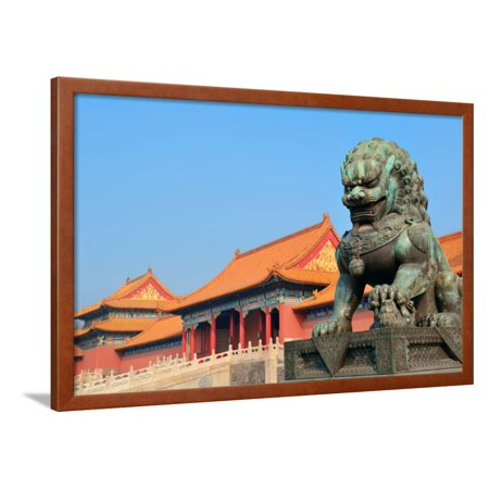 Lion Statue and Historical Architecture in Forbidden City in Beijing, China. Framed Print Wall Art By Songquan Deng ()