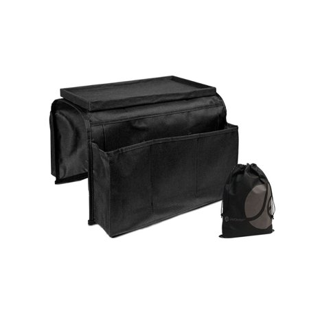 JAVOedge Black Over the Arm Sofa Organizer / Tray for Remotes, Food, Papers