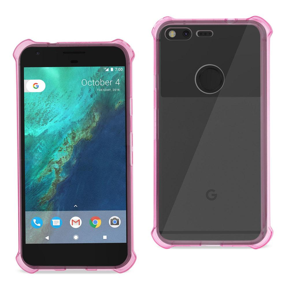 Reiko REIKO GOOGLE PIXEL CLEAR BUMPER CASE WITH AIR CUSHION PROTECTION IN CLEAR HOT PINK