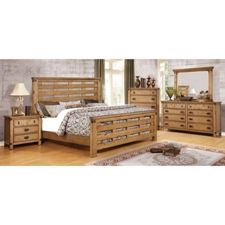 Furniture of America Moira II Country Style 4-Piece Weathered Elm Bedroom  Set, Multiple Sizes
