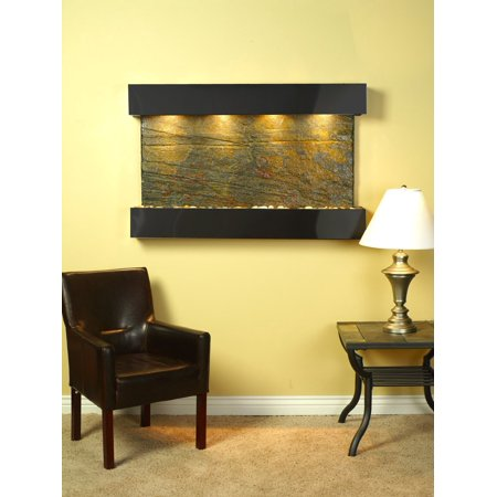 Natural Slate Water Wall - Adagio Sunrise Springs Fountain w/ Green Natural Slate in Blackened Copper Finis