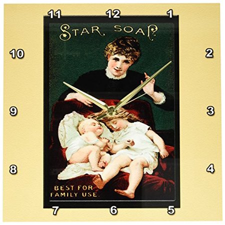 3dRose Star Soap Best for Family Use Victorian Era Woman, Small Girl and Baby in a Red Chair, Wall Clock, 13 by (The Best Soap To Use)
