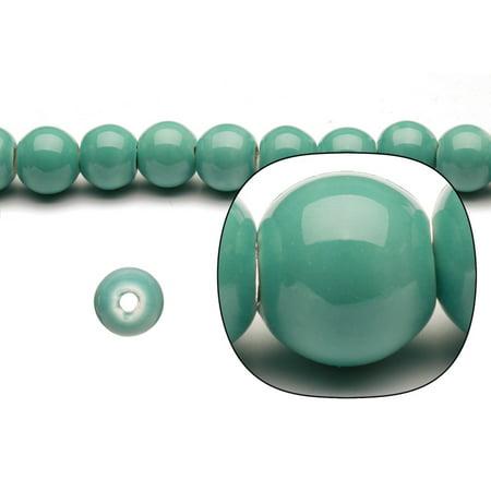 Porcelain Beads Round Green 12x11mm 20pcs
