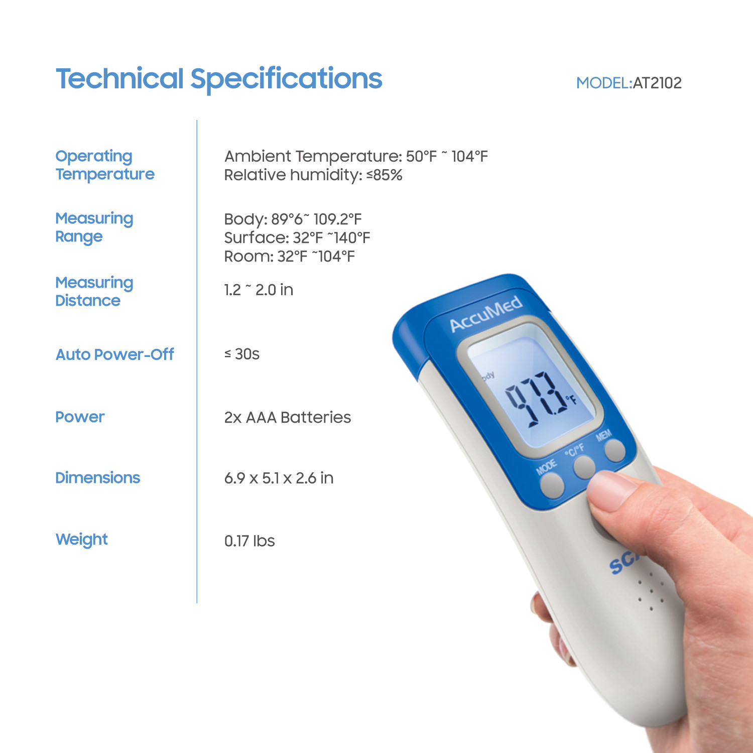AccuMed AT2104 Non-Contact, Instant-Read Handheld Infrared