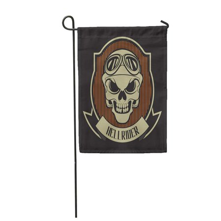 KDAGR Biker Stamp Hellrider Motorcycle Anatomy Bike Chopper Custom Danger Garden Flag Decorative Flag House Banner 12x18 inch ()