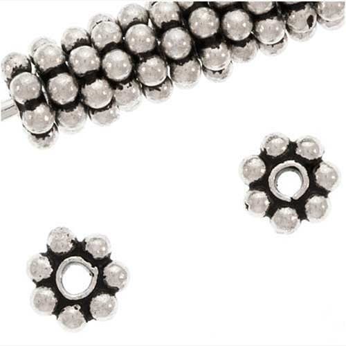 Antiqued Bali Sterling Silver Daisy Spacers 4mm (12)