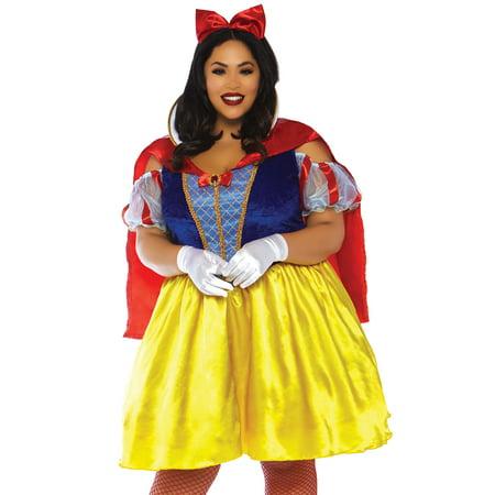 Leg Avenue Women's Plus Size 2 PC Snow White Costume, Multi, 1X-2X