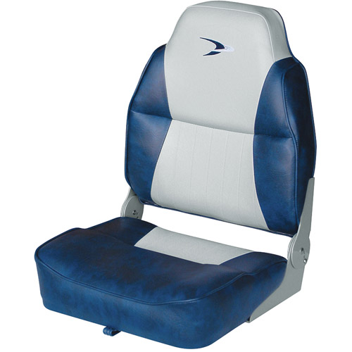 Wise Lund Style Embroidered Logo High-Back Padded Boat Seat with No-Pinch Hinges