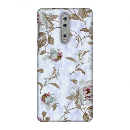 - Nokia 8 Case - Textured roses- Lavender and pearl white, Hard Plastic Back Cover, Slim Profile Cute Printed Designer Snap on Case with Screen Cleaning Kit