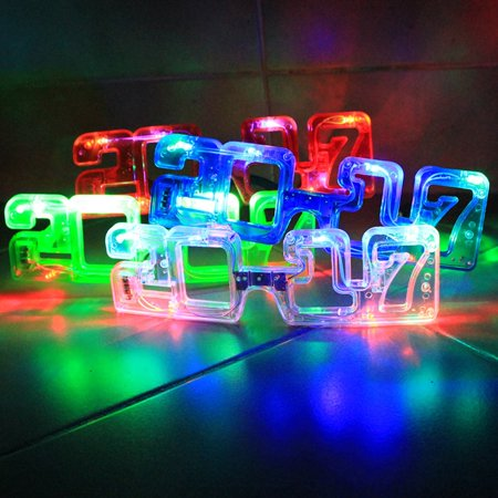 2017 New Years Eve Party Supplies, 2017 LED Flashing Light up New Year's Eve Novelty Glasses Assorted Party Favors (1 Dozen) - Led New Years 2017