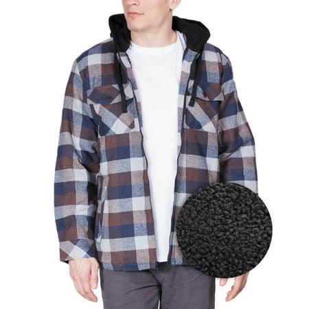 Mens Flannel Hoodie Jackets for Men Zip Up Fleece Sherpa Lined