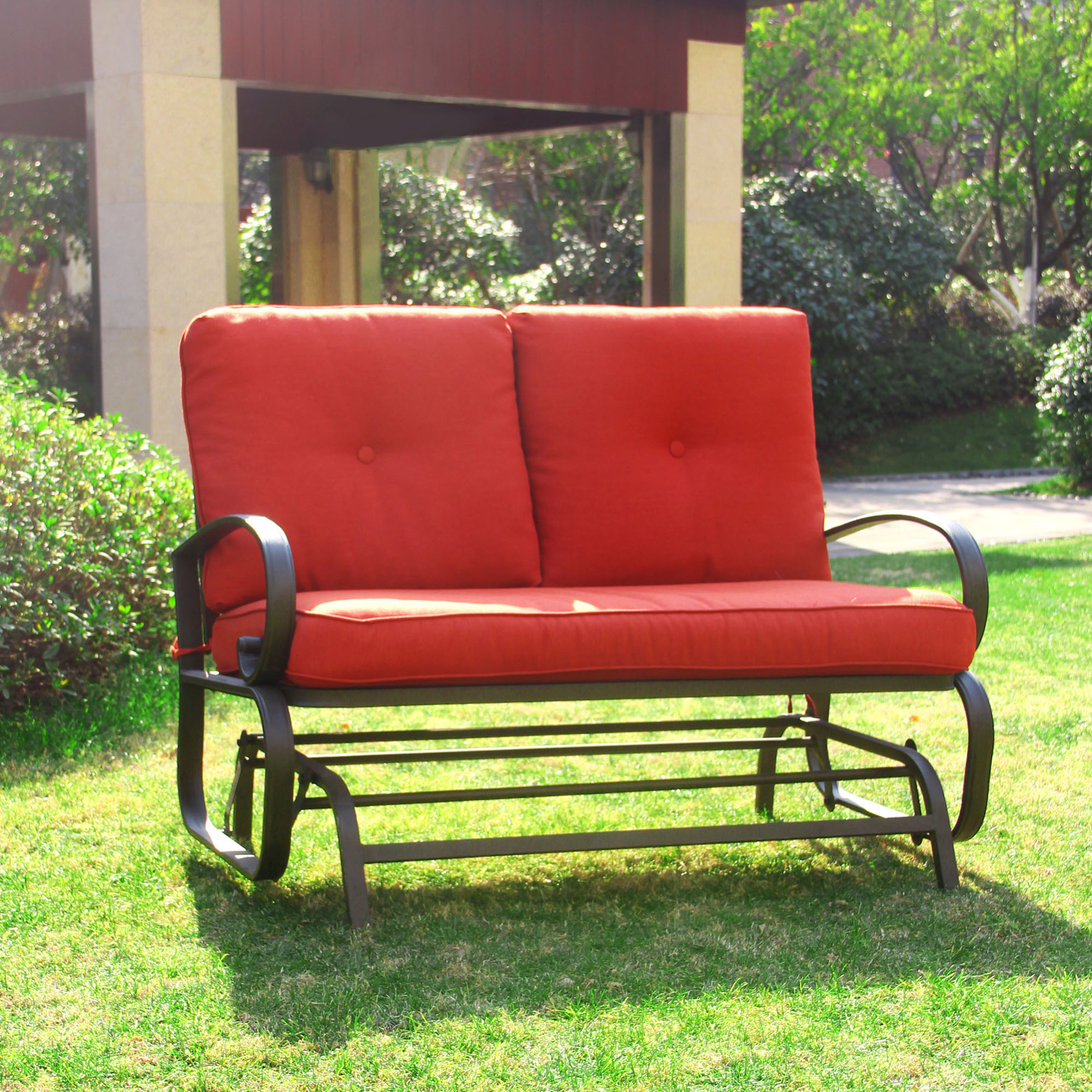 Cloud Mountain Outdoor Patio 2 Person Loveseat Cushioned Rocking Bench  Furniture Swing Rocker Lounge Glider Chair