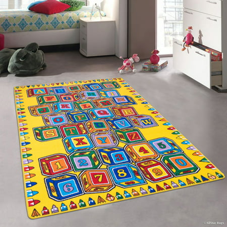 Allstar Kids / Baby Room Area Rug. Learn ABC / Alphabet Letters Numbers Cubes Bright Colorful Vibrant Colors (4' 11